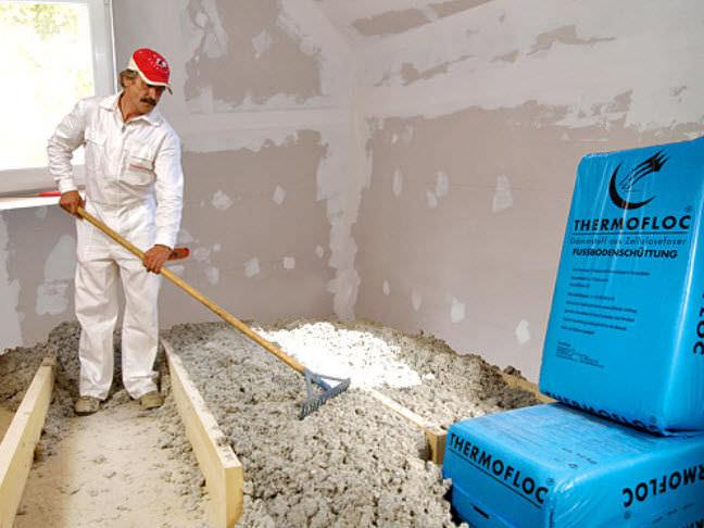 Thermofloc aislamiento de suelo con celulosa especial - Aislante acustico para suelos ...